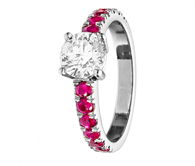 Diamantring Melbourne Brillant und Rubin
