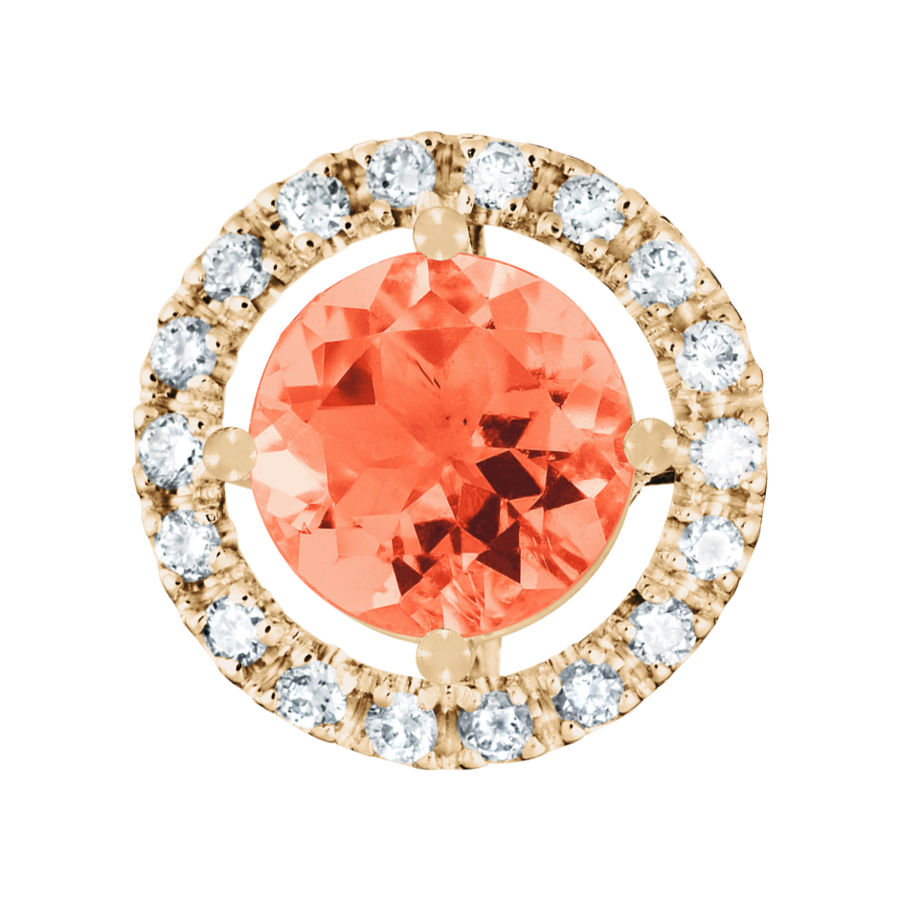 Anhänger Halo Feueropal orange in Roségold