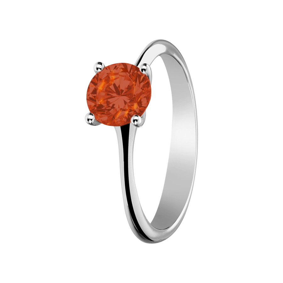 Basel Fire Opal orange in Platinum