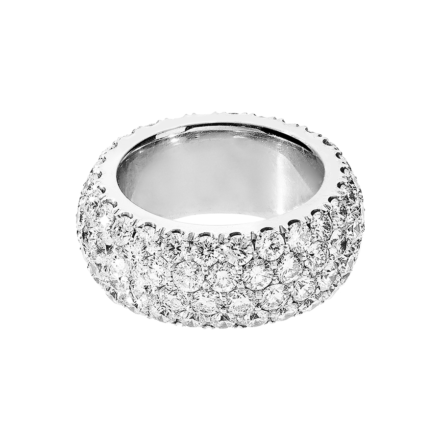 Diamond Snow Ring Wide in White Gold