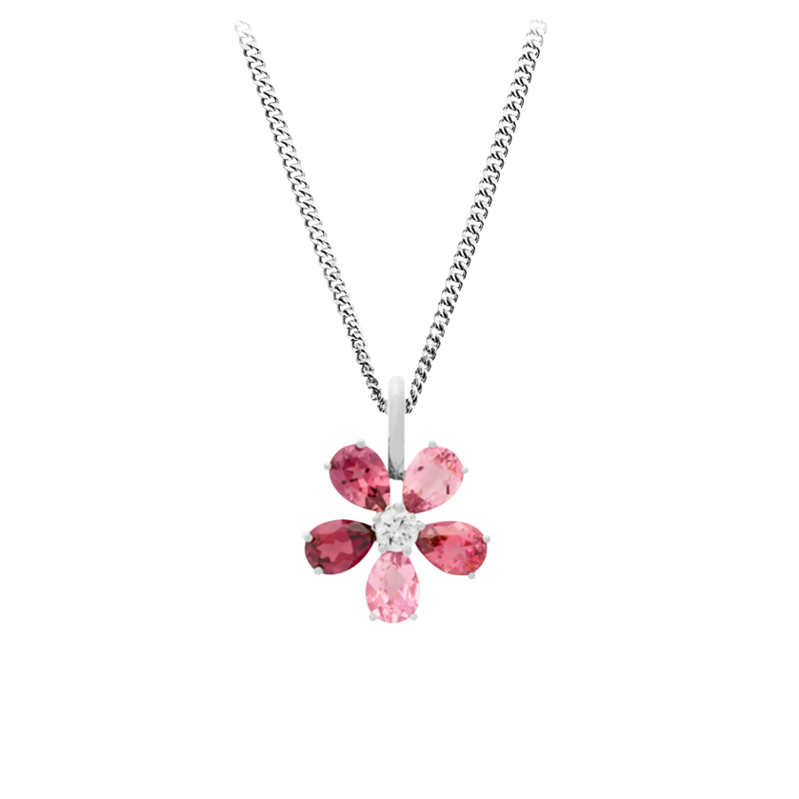 Flowers Pendant Tourmaline in White Gold