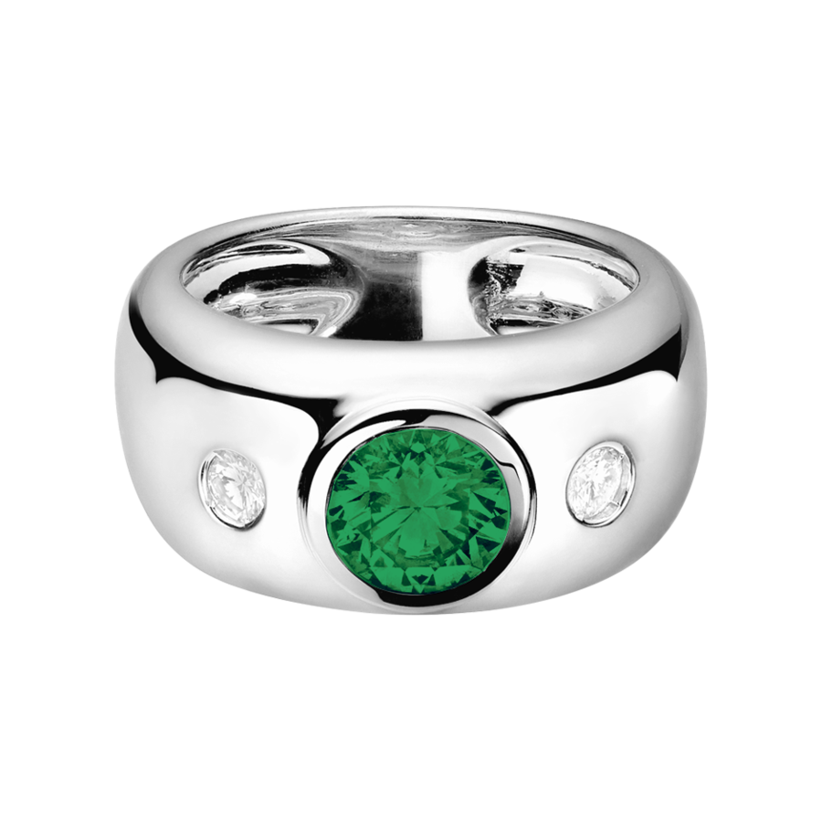 Naples Emerald green in Platinum