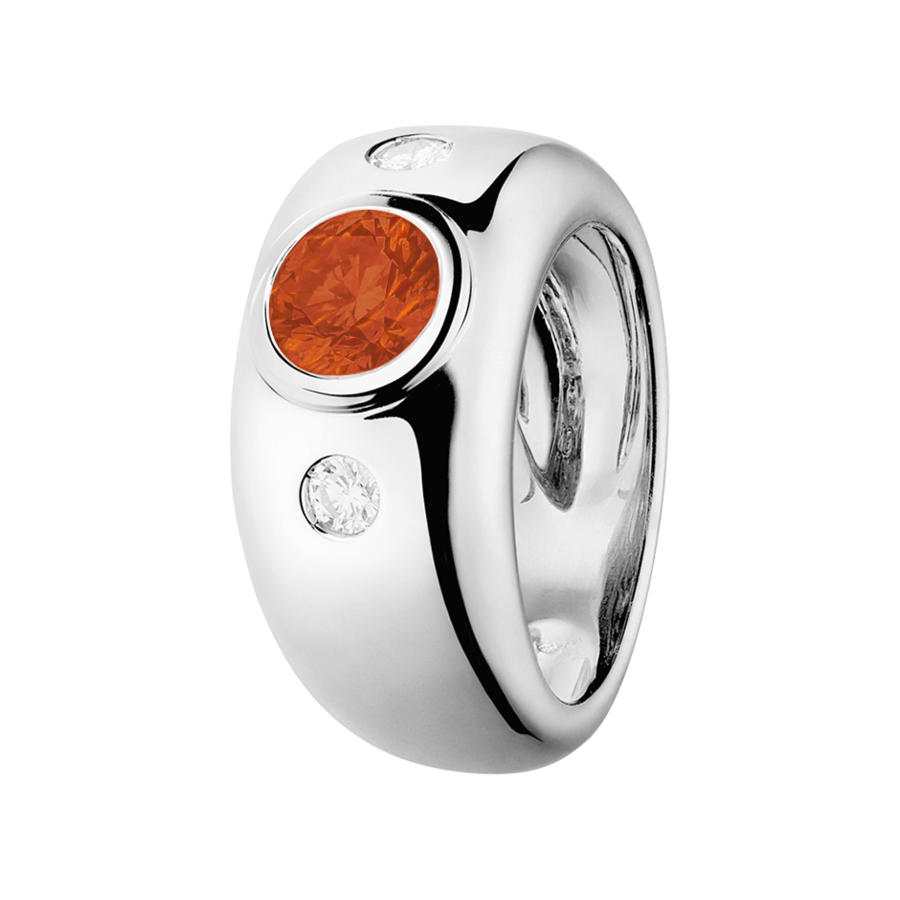 Naples Fire Opal orange in White Gold
