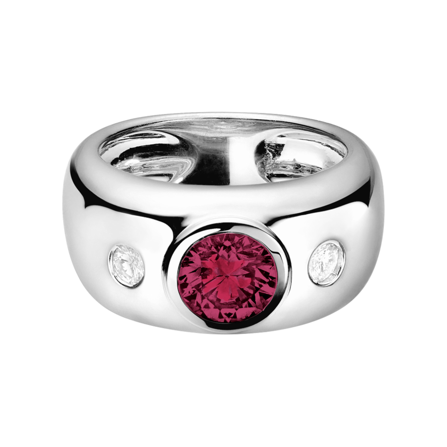 Naples Rhodolite red in White Gold
