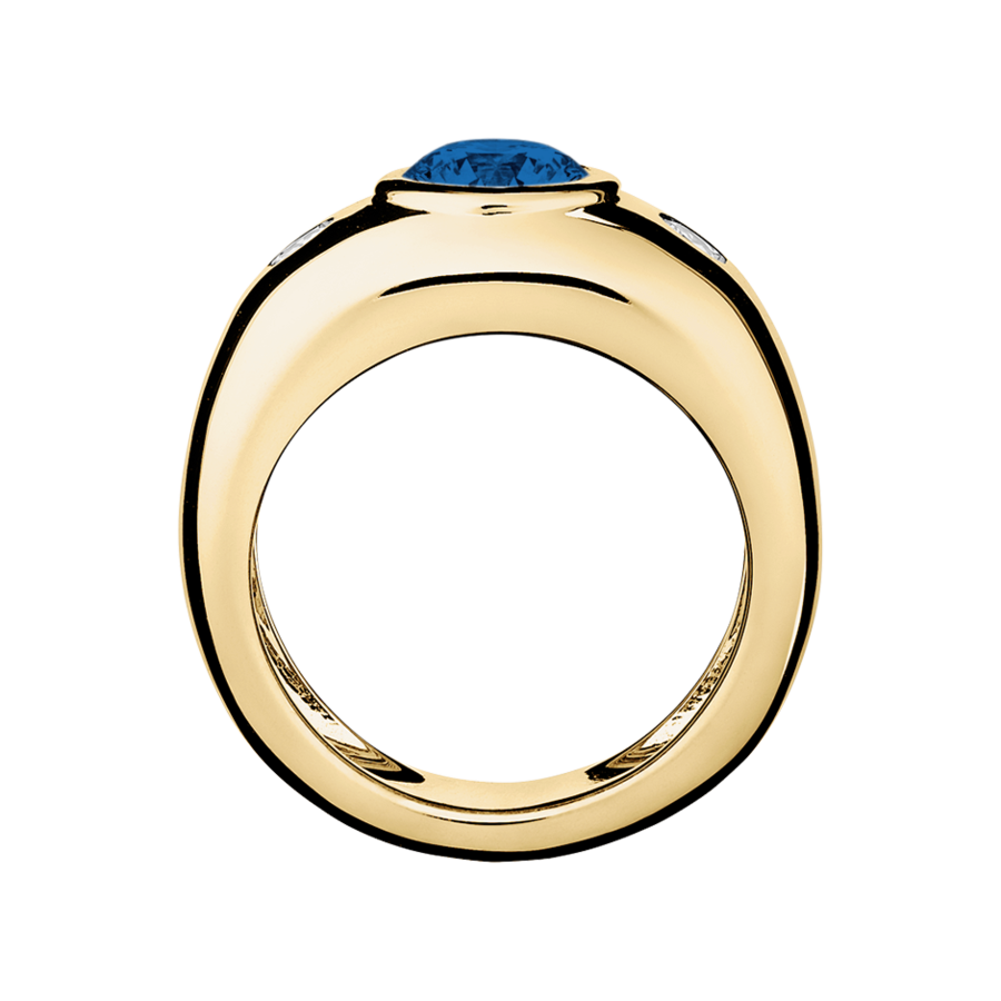 Naples Sapphire blue in Yellow Gold