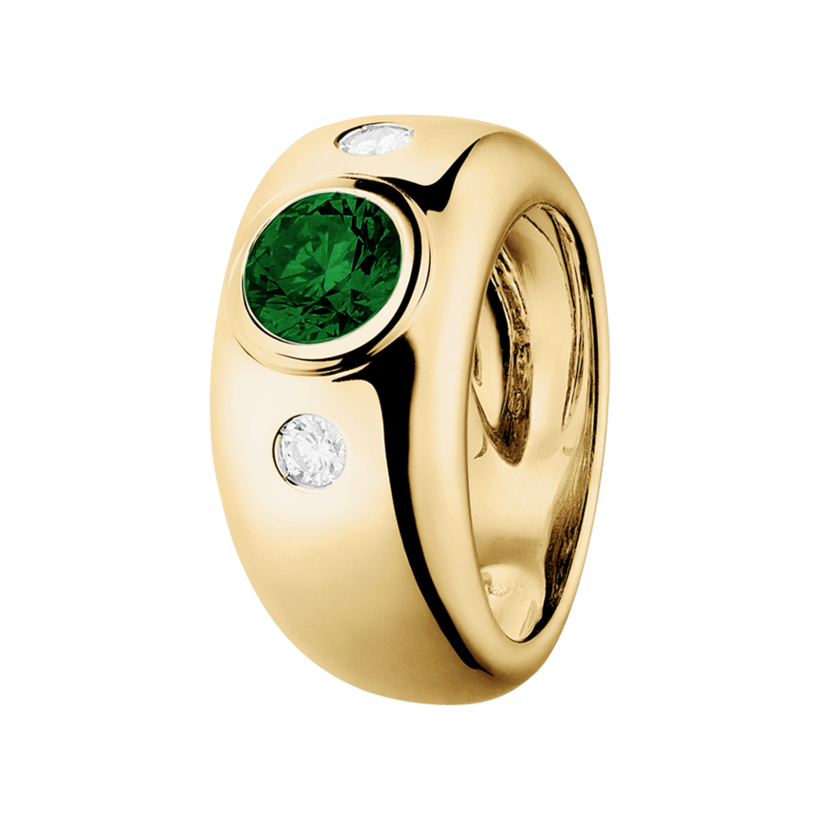 Naples Tourmaline green in Yellow Gold