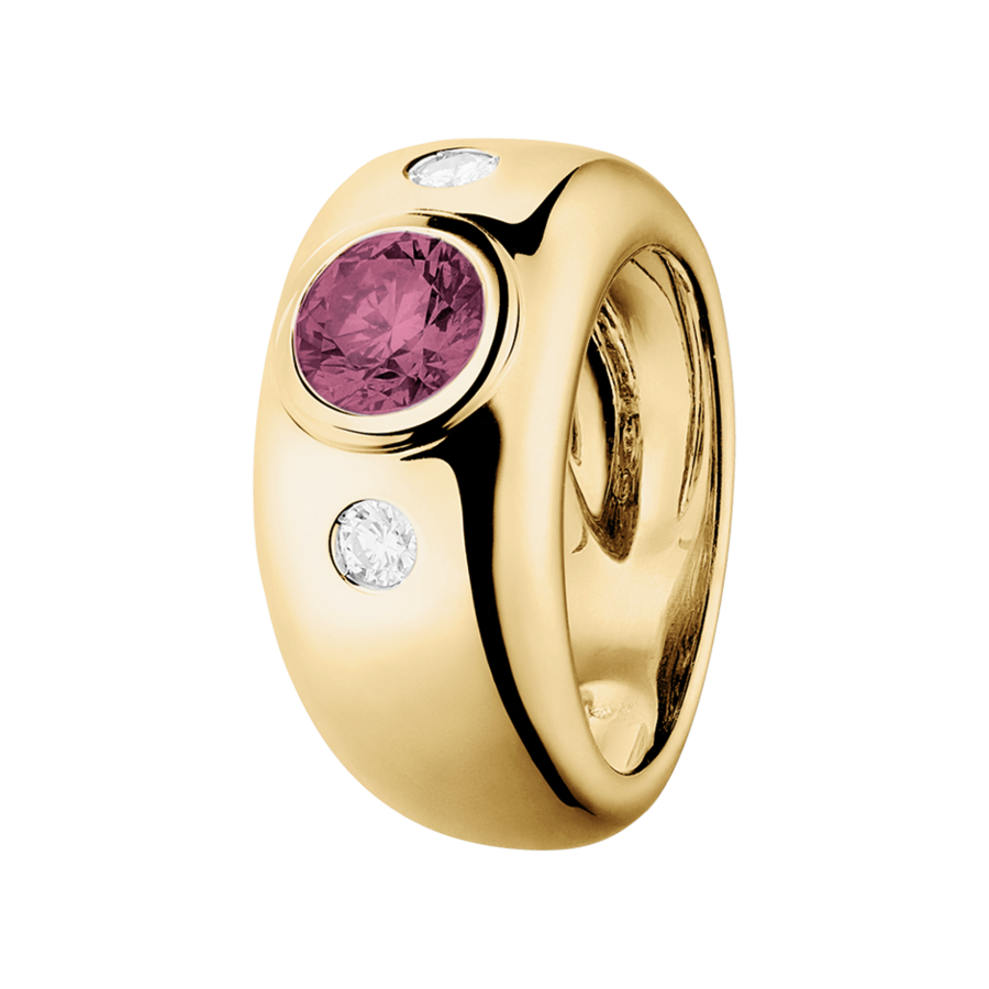 Naples Turmalin rosa in Gelbgold