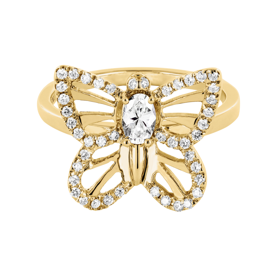 Papillon Ring Diamant in Gelbgold