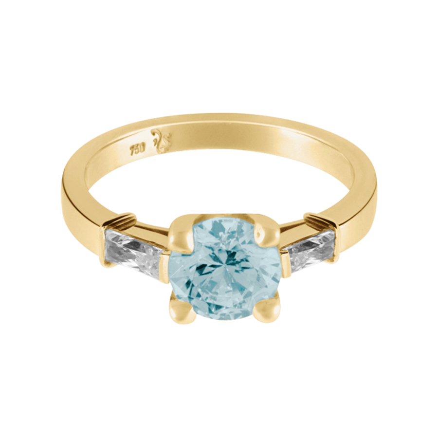 Paris Aquamarin blau in Gelbgold
