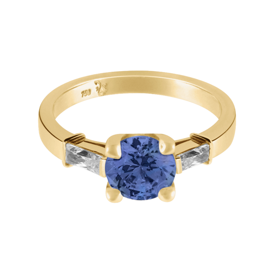 Paris Tansanit blau in Gelbgold