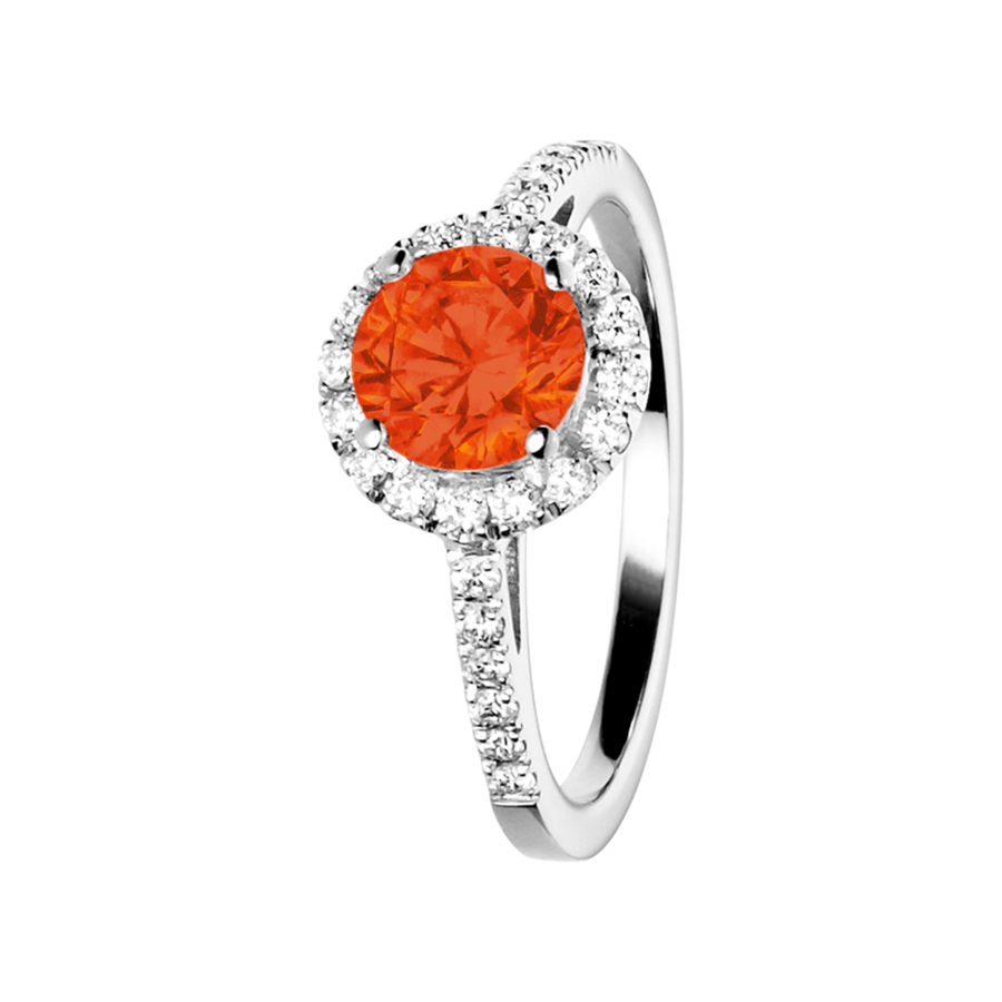 Prague Feueropal orange in Platin
