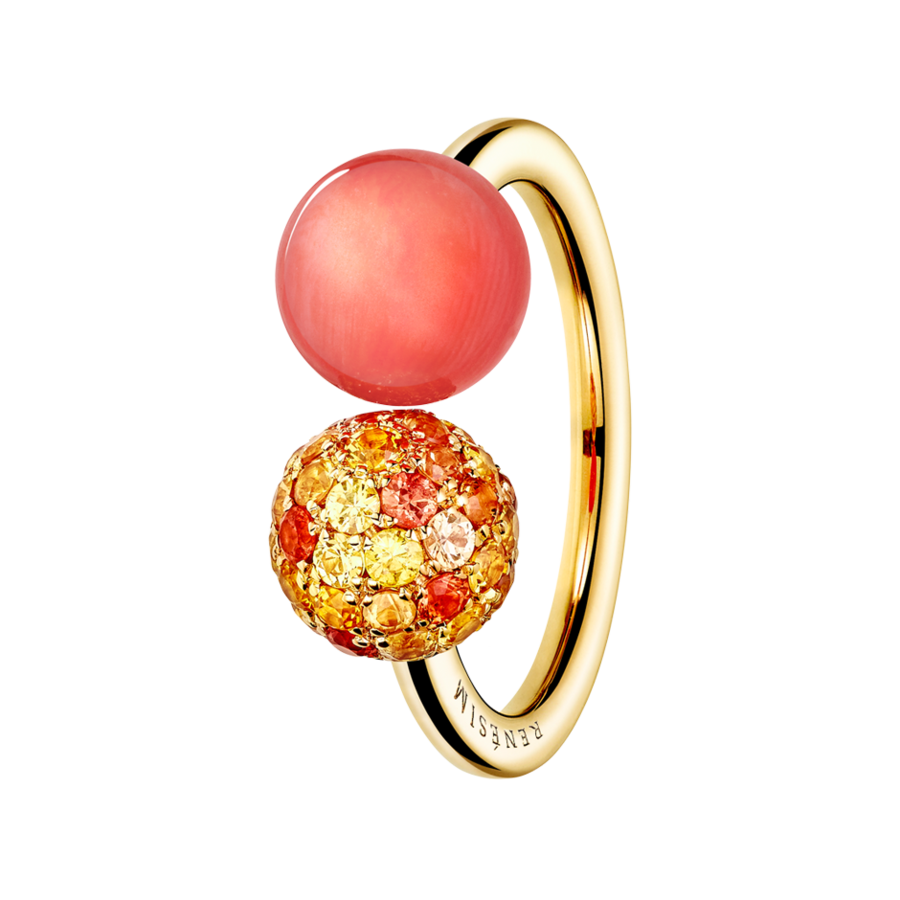 Ring Koralle & Saphir in Roségold