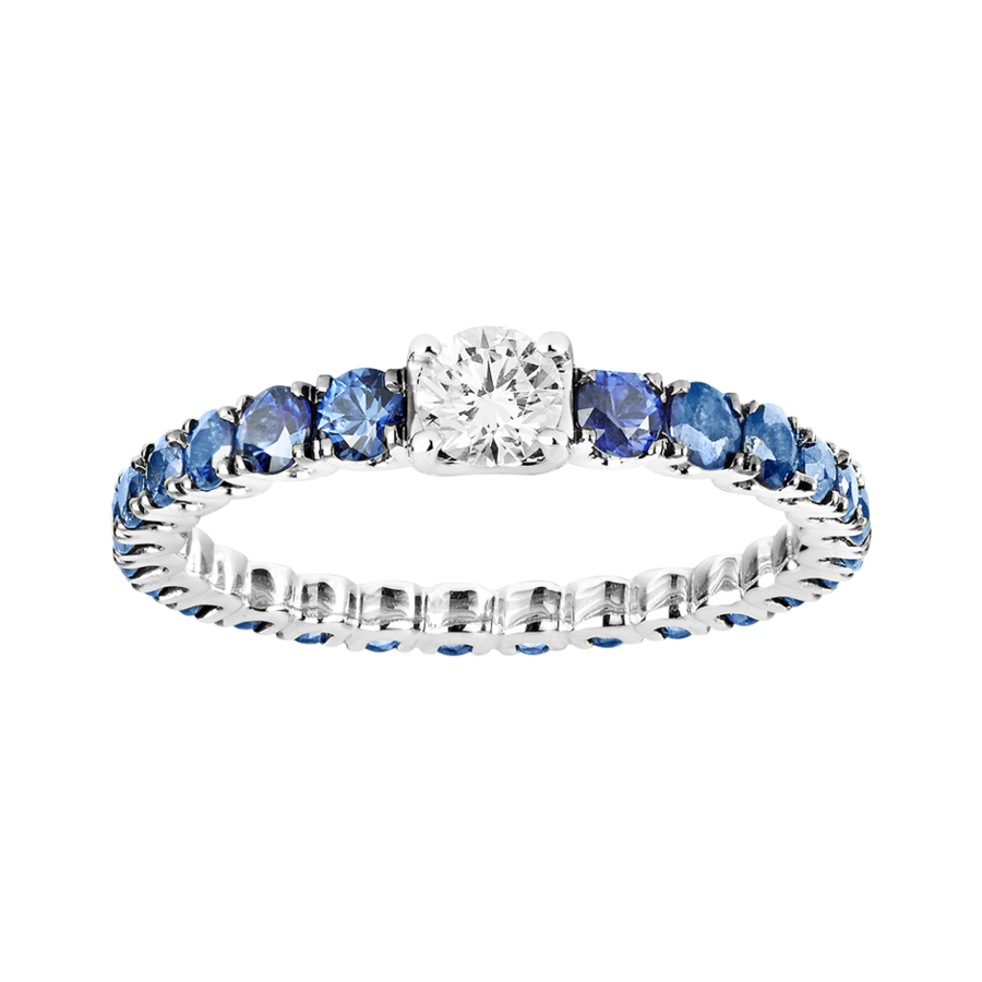 Ring Romance with Sapphires and Diamond in White Gold
