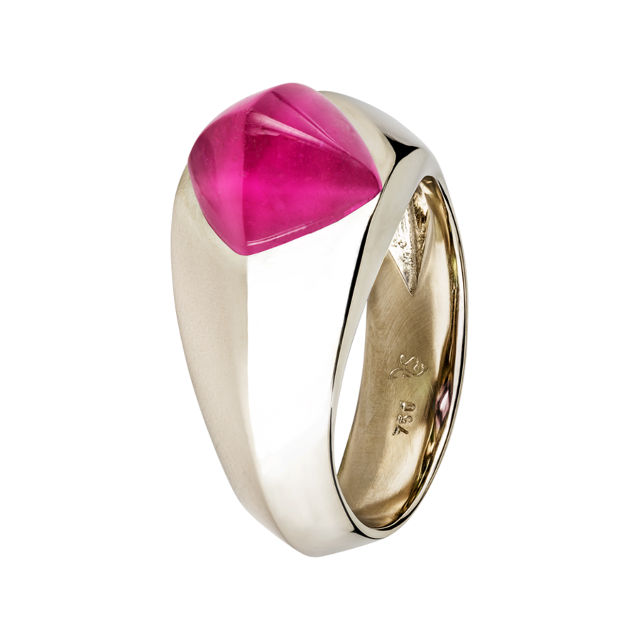 Sugar Loaf Ring Rubellite in White Gold