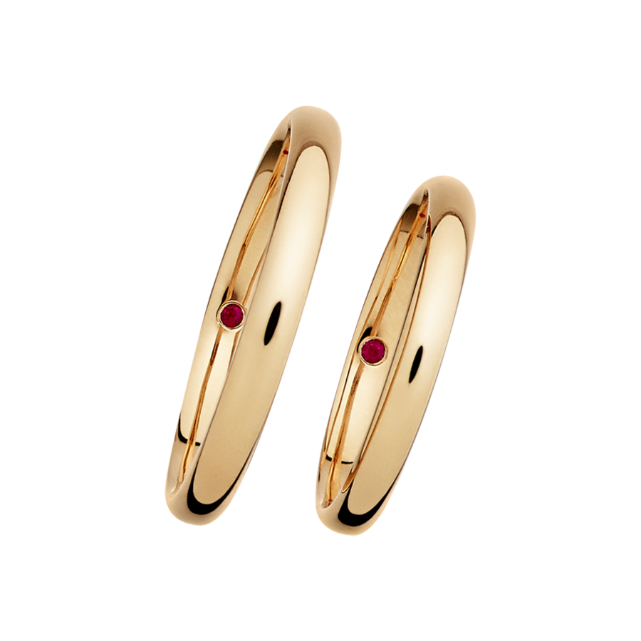 Wedding Rings with Rubies in Rose Gold