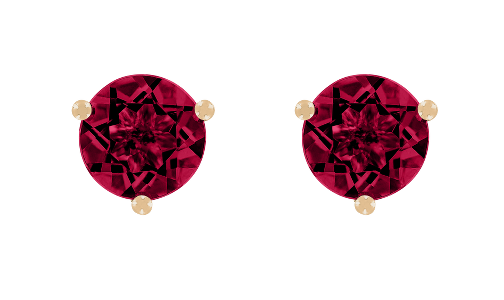 Gemstone Stud Earring 3-Prong Setting with a Ruby in Rose Gold