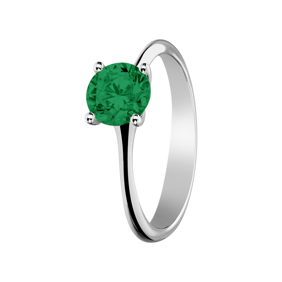 Basel Emerald green in White Gold