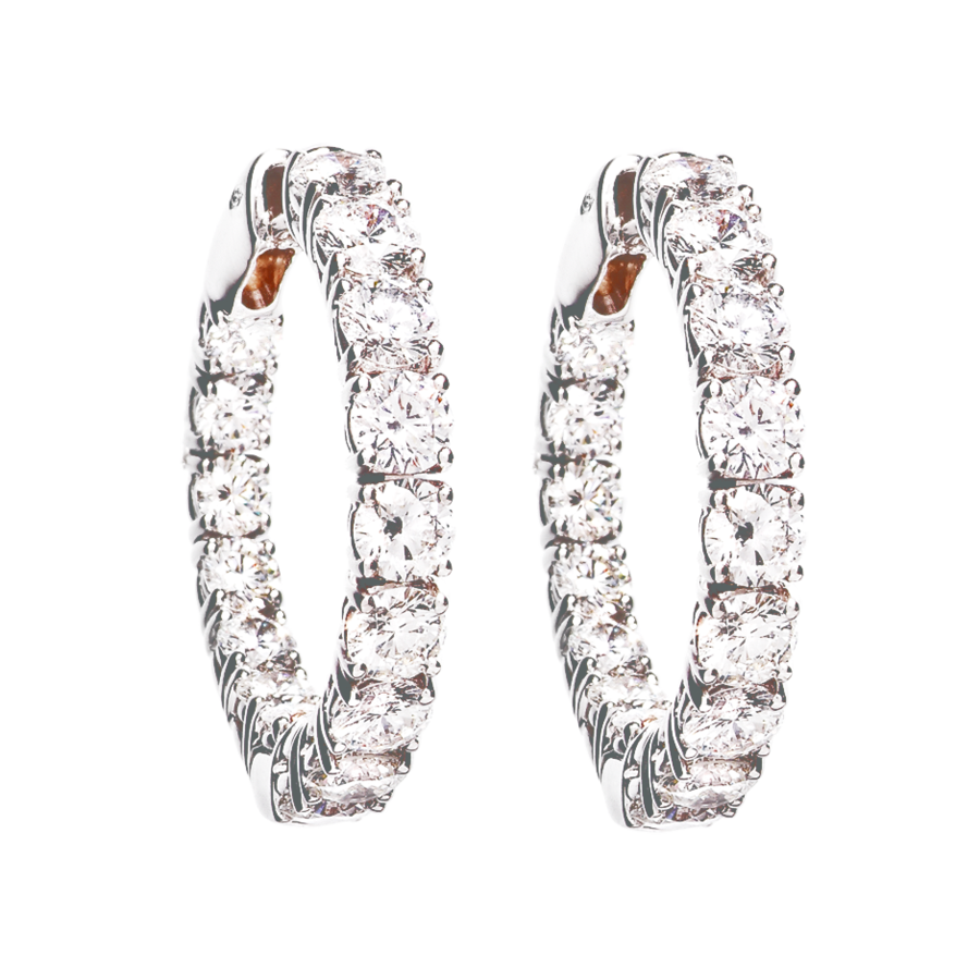 Diamond Hoop Earrings VI in White Gold
