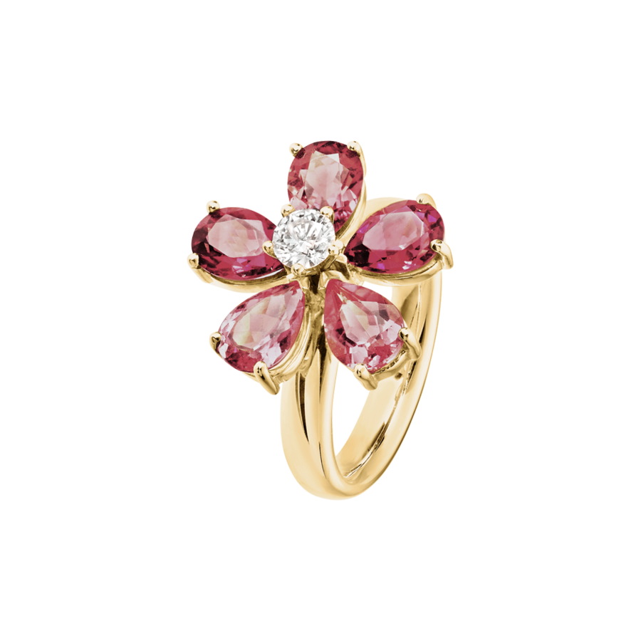 Flowers Ring Tourmaline in Yellow Gold