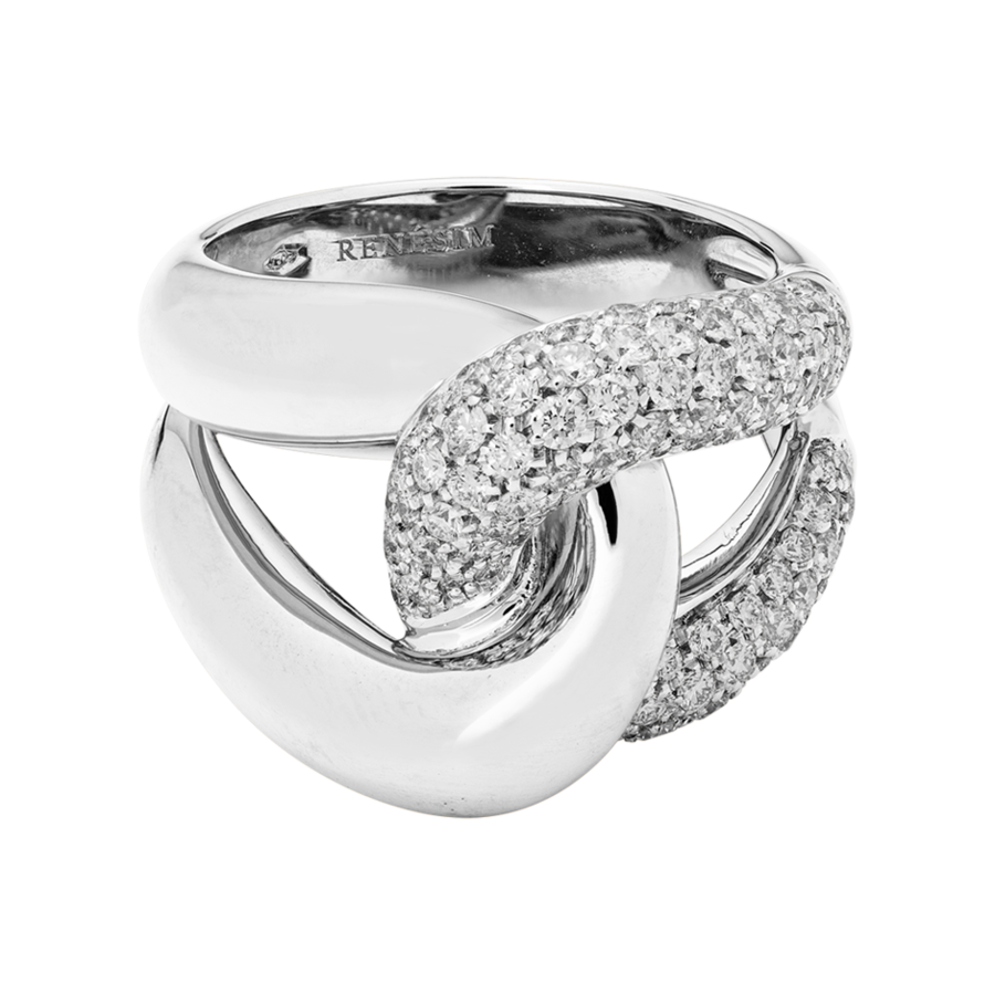 Knot Ring Classics with Diamonds in White Gold