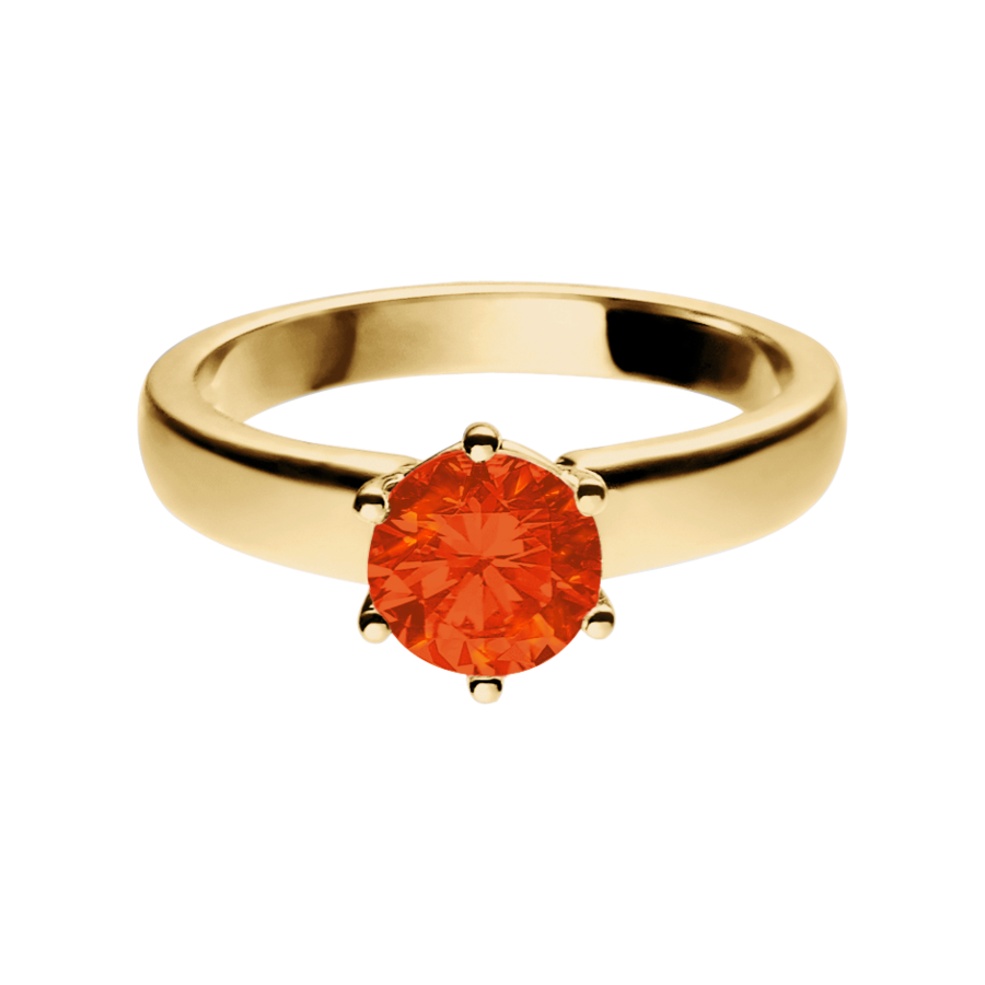 Malmö Fire Opal orange in Yellow Gold