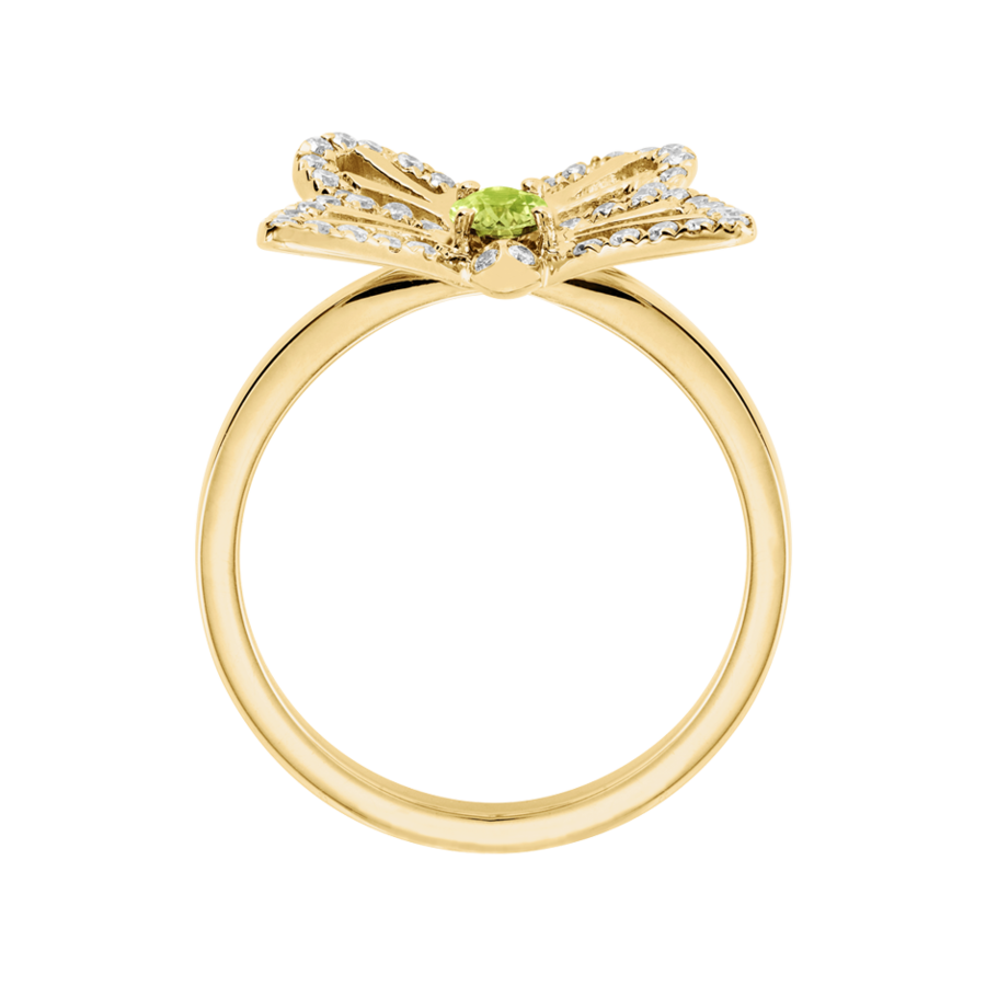 Papillon Ring Peridot in Gelbgold