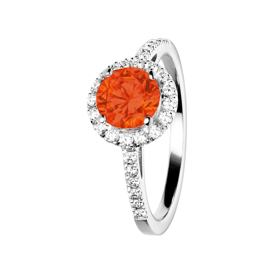 Prague Fire Opal orange in Platinum