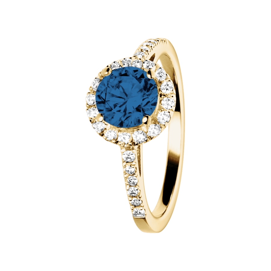 Prague Saphir blau in Gelbgold