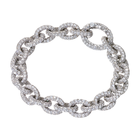 Anchor Chain Bracelet White in White Gold