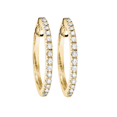 Diamond Hoop Earrings II in Yellow Gold