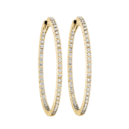 Diamond Hoop Earrings V in Yellow Gold