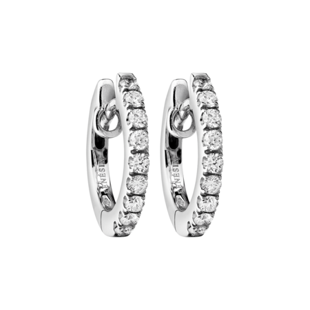 Diamond Hoop Earrings VIII in White Gold