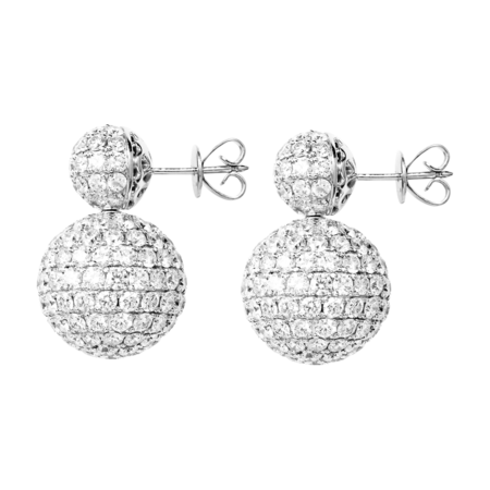 Diamond Snow Earrings in White Gold