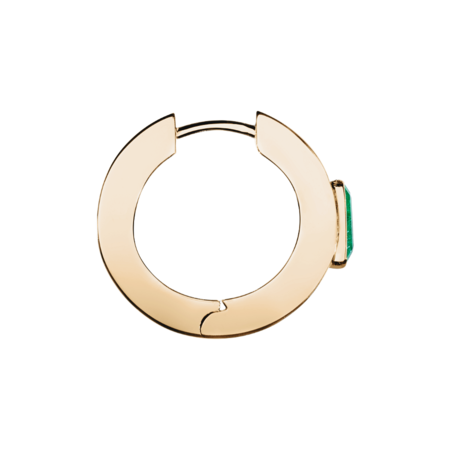 Emerald Hoop Earrings in Rose Gold