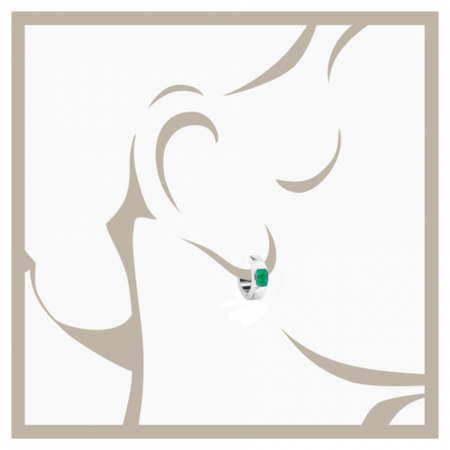 Emerald Hoop Earrings in White Gold