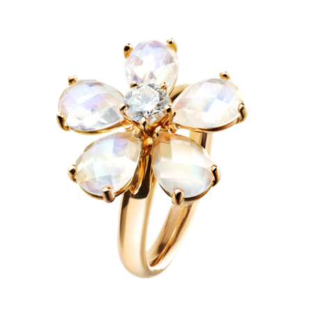 Flowers Ring Moonstone in Rose Gold