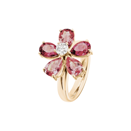 Flowers Ring Tourmaline in Rose Gold