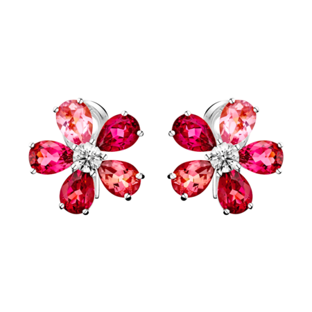 Flowers Stud Earrings Tourmaline in White Gold