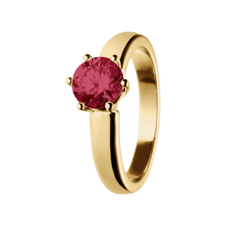 Malmö Ruby red in Yellow Gold