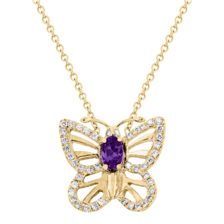 Papillon Necklace Amethyst in Yellow Gold