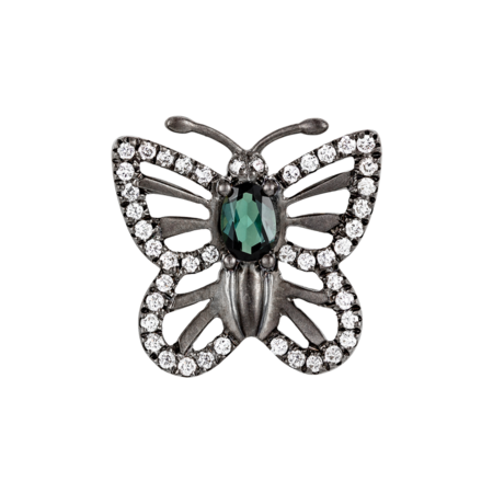 Papillon Pin Tourmaline dark green in White Gold