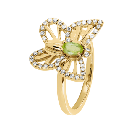 Papillon Ring Peridot in Yellow Gold