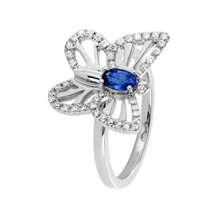Papillon Ring Sapphire blue in White Gold