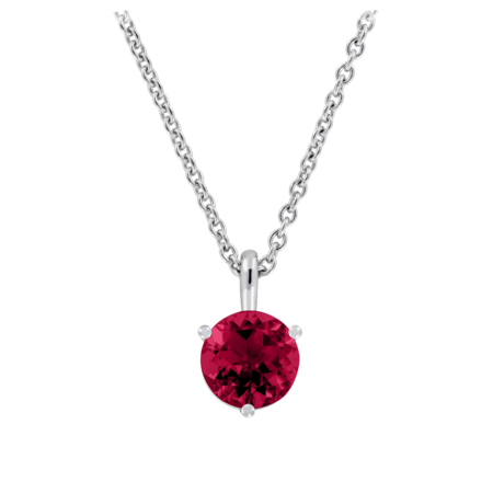Pendant 3 Prongs Ruby red in Platinum