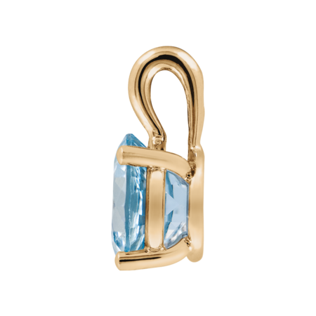 Pendant 4 Prongs Aquamarine blue in Rose Gold