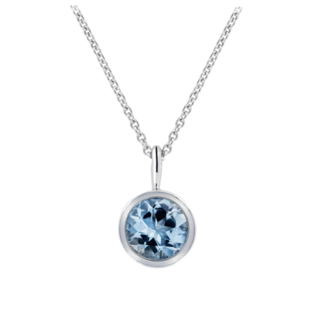 Pendant Bezel Aquamarine blue in Platinum