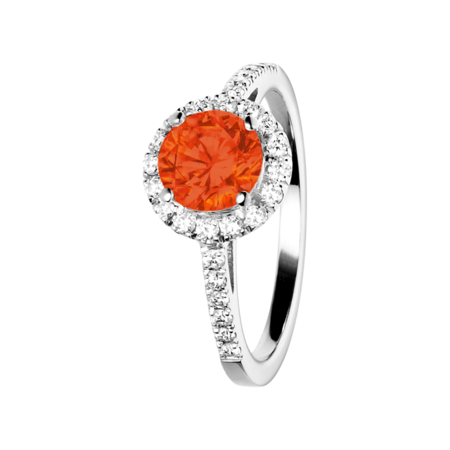 Prague Fire Opal orange in White Gold