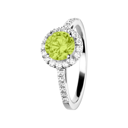 Prague Peridot green in White Gold