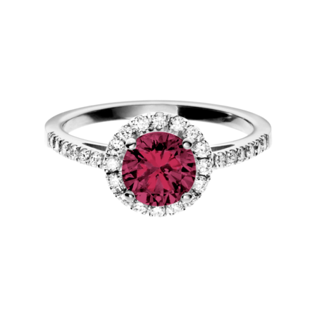 Prague Rhodolite red in White Gold