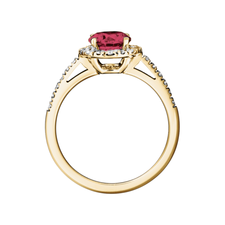 Prague Ruby red in Yellow Gold
